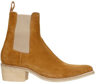 Amiri Crepe Chelsea Low Heels Ankle Boots In Leather Color Suede