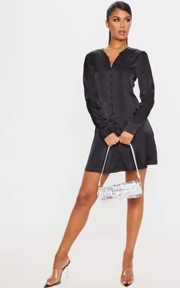 PrettyLittleThing White Button Front Satin Shift Dress