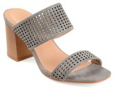 Brinley Co. Womens Faux Leather Laser-cut Dual-strap Heeled Mules