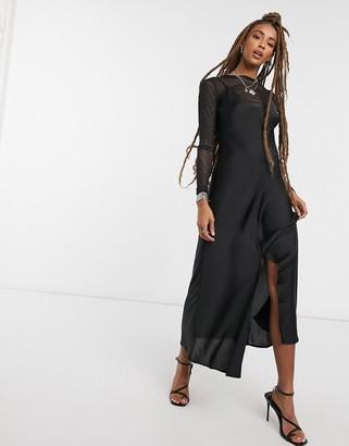 Free People Smoke And Mirrors maxi slip dress in black