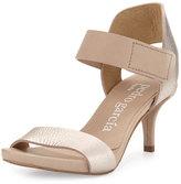 Pedro Garcia Wendelin Leather Low-Heel Sandal, Beige