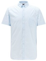 HUGO BOSS - Slim Fit Shirt In Patterned Stretch Cotton - Natural
