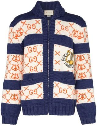 Gucci intarsia knit GG striped cardigan
