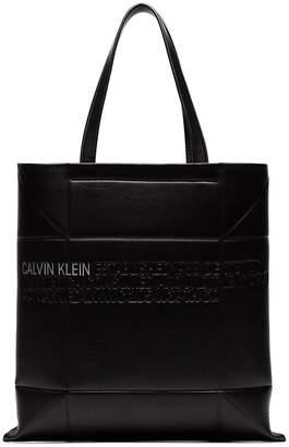 Calvin Klein black small geometric leather tote bag