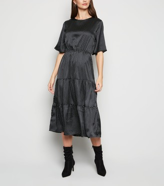 New Look Influence Satin Spot Midi Dress