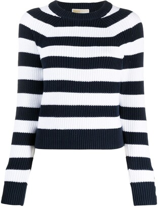 MICHAEL Michael Kors Stripe Ribbed Cotton Jumper