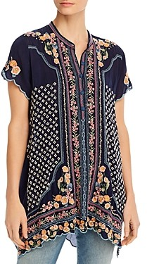 Johnny Was Moji Short-Sleeve Embroidered Top