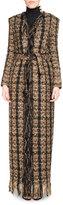Balmain Tweed Floor-Length Belted Cardigan with Fringe