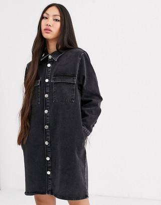 Asos washed black oversized denim shirt dress