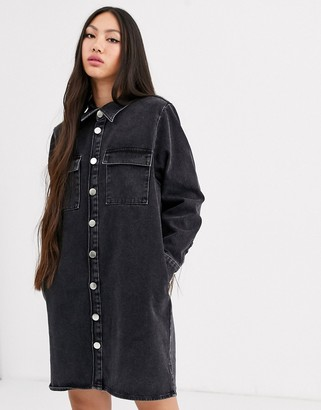 Asos washed black oversized denim shirt dress