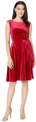 Tahari ASL Petite Stretch Velvet Side Tie Dress (Ruby) Women's Dress