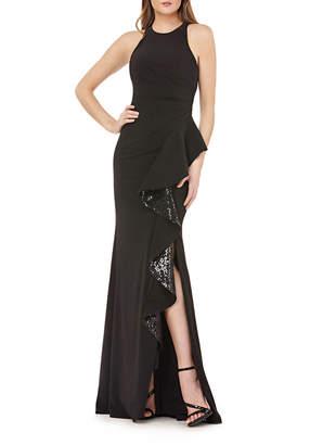 Carmen Marc Valvo Halter Gown with Asymmetric Ruffle