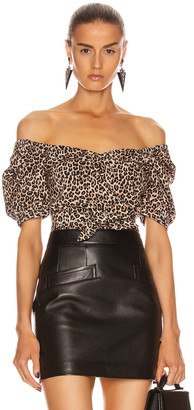 Marissa Webb Diane Lightweight Canvas Print Top in Sandshell Leopard | FWRD