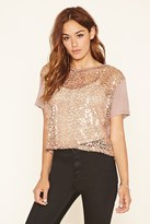 Forever 21 FOREVER 21+ Crochet-Front Sequined Top