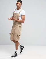 Asos Drop Crotch Short Dungarees With Taping In Stone