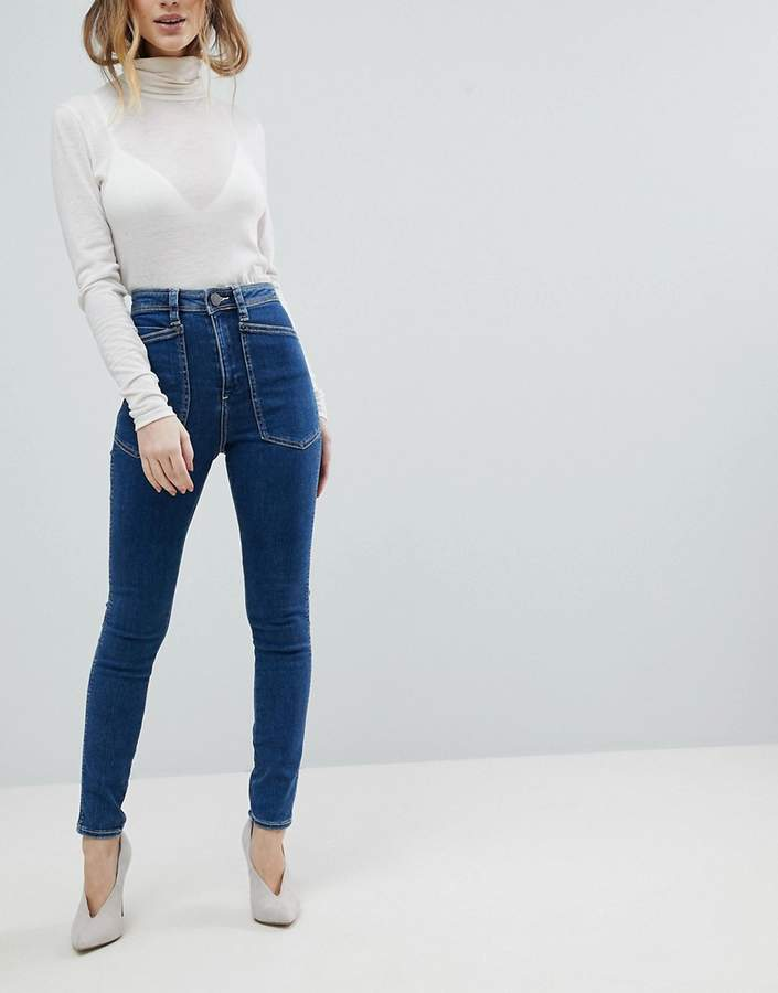 Asos Design DESIGN Ridley high waist skinny jeans with workwear styling in sofia lavender blue wash