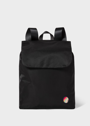 Paul Smith Women's Black Canvas Backpack With 'Swirl' Patch