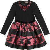 Miss Blumarine Floral Brocade & Milano Jersey Dress