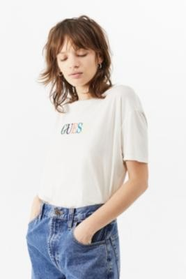 GUESS Embroidered Logo White T-Shirt - White XS at Urban Outfitters