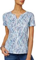 Karen Scott Petite Printed Henley T-Shirt