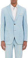 Luciano Barbera MEN'S BLEACHED TWO-BUTTON SPORTCOAT-BLUE SIZE 44