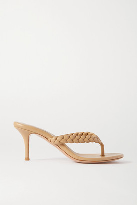 Gianvito Rossi Calypso 70 Braided Leather Sandals - Beige