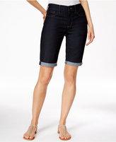 NYDJ Briella Denim Cuffed Dark Enzyme Wash Bermuda Shorts