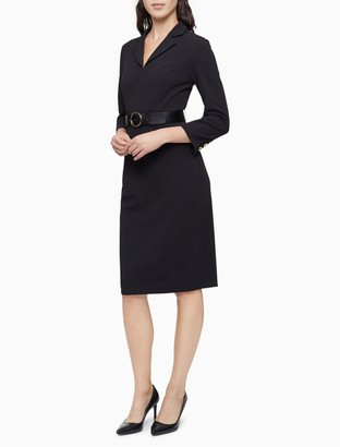 Calvin Klein Notch Lapel 3/4 Sleeve Belted Sheath Dress