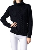 Viottis Women's Cable Knit Turtleneck Long Sleeve Pullover Sweater M