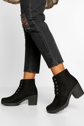 boohoo Wide Fit Block Heel Lace Up Hiker Boot