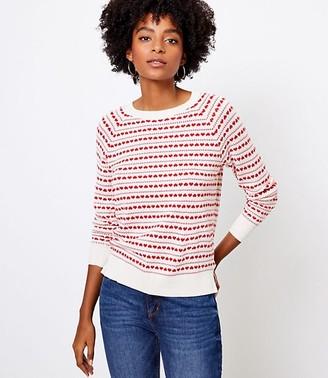 LOFT Heart Striped Sweater