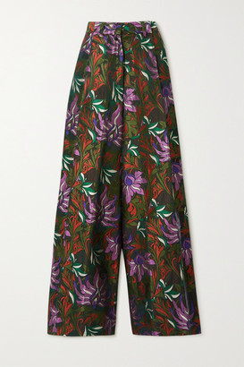 Dries Van Noten Floral-jacquard Wide-leg Pants - Army green