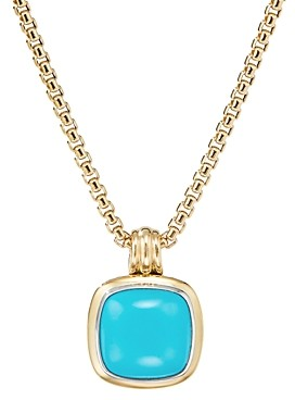 David Yurman Sterling Silver & 18K Yellow Gold Albion Reconstituted Turquoise Pendant
