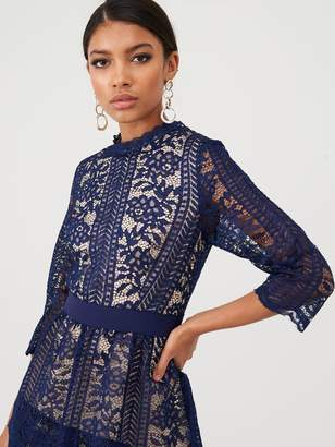 Little Mistress Floral Lace Tiered Dress - Navy