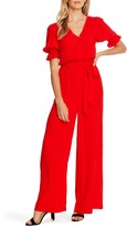 CeCe Dot Jacquard Wide Leg Jumpsuit