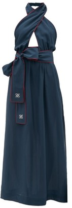 Fendi Crossover Halterneck Silk Maxi Dress - Navy