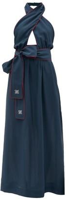 Fendi Crossover Halterneck Silk Maxi Dress - Womens - Navy