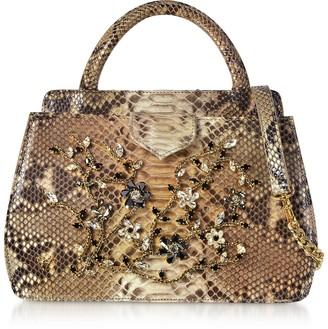 Ghibli Jeweled Python Leather Top Handle Satchel Bag