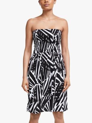 John Lewis & Partners Maui Mono Shirred Bandeau Dress, Black/Multi