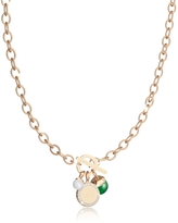 Rebecca Hollywood Stone Yellow Gold Over Bronze Chain Necklace w/Hydrothermal Green Stone and Glass Pearl