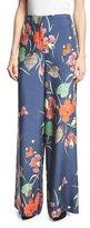 Diane von Furstenberg Floral-Print Wide-Leg Silk Toile Pants, Blue Multicolor