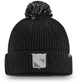 Women's Fanatics Branded Black New York Rangers Lunar Cuffed Knit Hat With Pom