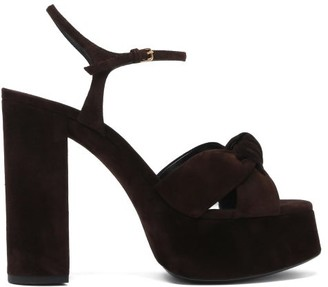 Saint Laurent Bianca Knotted Suede Platform Sandals - Dark Brown