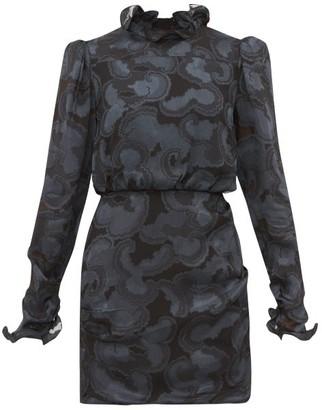 Saloni Rina Silk-blend Jacquard Mini Dress - Womens - Black