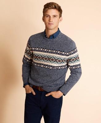 Brooks Brothers Wool-Blend Fair Isle Crewneck Sweater
