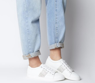 Office Fling Chain Detail Lace Up Trainers White With Strass