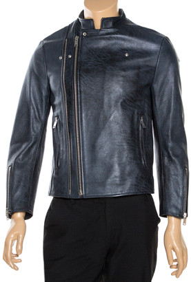 Balenciaga Navy Blue Leather Biker Jacket M