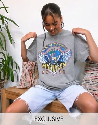 Reclaimed Vintage inspired t shirt with Van Halen print in grey