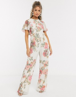 Hope & Ivy jumpsuit with open back in floral print