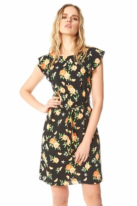 Roman Originals Women Floral Spot Frill Sleeve Shift Dress - Ladies Casual Spring Summer Mothers Day Easter Garden Party Short Cap Sleeve Knee Length Round Neck Dresses - Black & Orange - Size 12